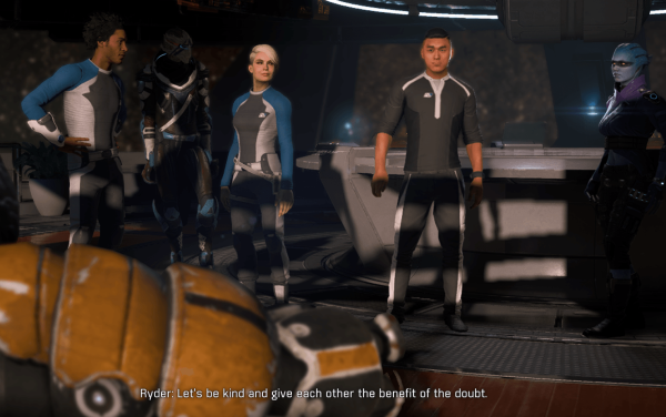 "Human protagonist Ryder stands among two humans, a Turian, an Asari, and a Krogan--all crewmembers, and says ""Let's be kind and give each other the benefit of the doubt."""