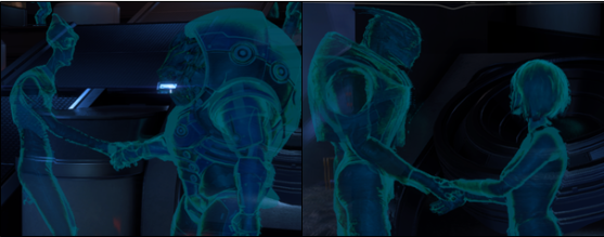 "Two in-game images of holographic education kiosks from the museum-like ""Cultural Exchange Center."" On the left, a Salarian shakes hands with a Krogan. On the right, a Turian shakes hands with a human. These species have had particularly troublesome histories with one another."