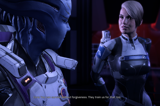 "Cora Harper looks at her former hero, Asari commando Sarissa Theris. Cora condescendingly says ""You can survive without forgiveness. They train us for that, too."""