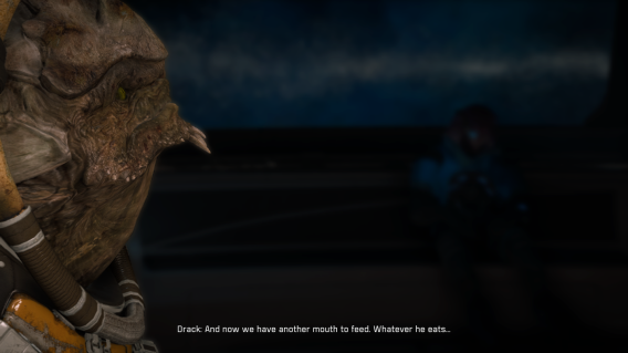 "Krogan crewmember Nackmor Drack looks on at Jaal and says ""And now we have another mouth to feed. Whatever he eats..."""