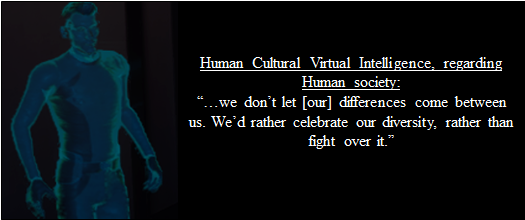 "An in-game image of a human holographic projection from the museum-like ""Cultural Exchange Center."" The holographic human's dialogue regarding human society says ""...we don't let [our] differences come between us. We'd rather celebrate our diversity, rather than fight over it."""