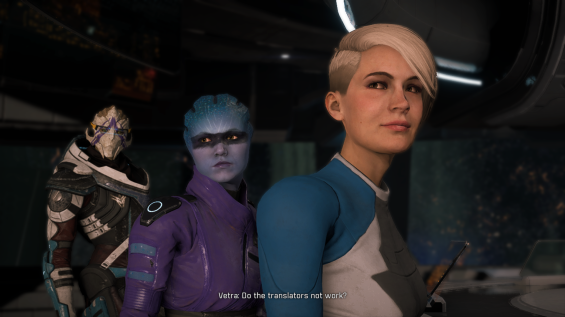 "Turian crew member Vetra says ""Do the translators not work?"" as she, Asari crewmember Peebee, and human crewmember Cora Harper, all stare towards Jaal."