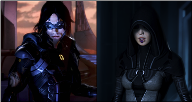 Image of two humans from the Mass Effect Universe, Kai Leng (left) and Kasumi Goto (right). They are examples of prominent Asian characters who were ninja/assassin tropes.
