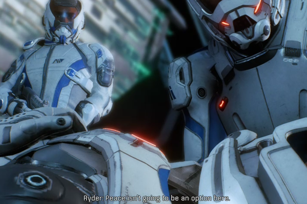 In-game image of two characters in space suits standing over the body of their dead crew member. The in-game text from the protagonist Ryder reads: Peace isn't going to be an option here.
