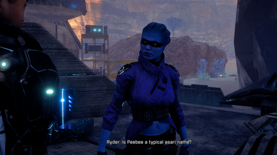 "The game's protagonst, Ryder, meets Asari crew member Peebee for the first time. Ryder asks ""Is Peebee a typical asari name?"""