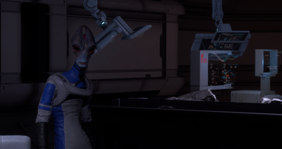 A Salarian named Professor Herik stands with his lab equipment in the background.