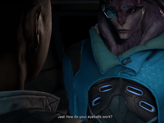 "An annoyed Jaal asks Ryder ""How do you eyeballs work?"" after being questioned about Angaran biology."