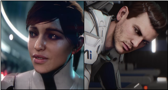 Image of the male and female default appearances for the protagonist Ryder. Both have light, fair skin and brown hair.