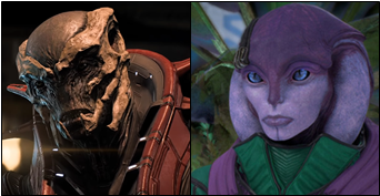 Image of the Primus, an example of the dark skinned kett, juxtaposed with an image of Avela, an Angara with soft features and pink-lavender skin.
